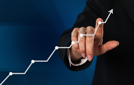 Businessman and  growing line ,symbolize growing Stock Photo