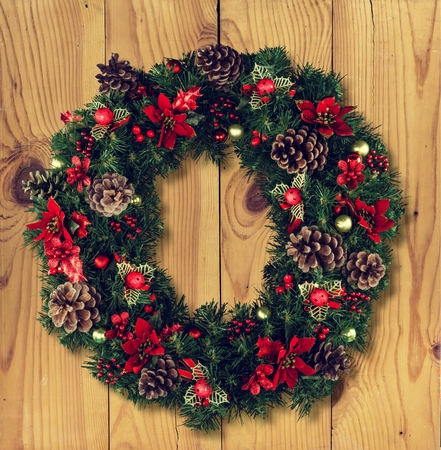 Christmas decorative wreath of holly, mistletoe Stock Photo
