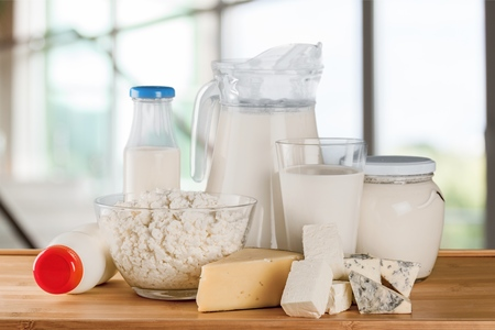 Milk products on table