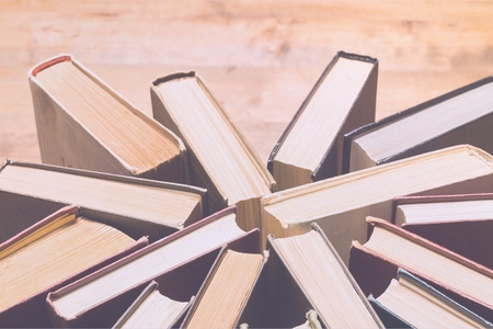 top view of stack of books