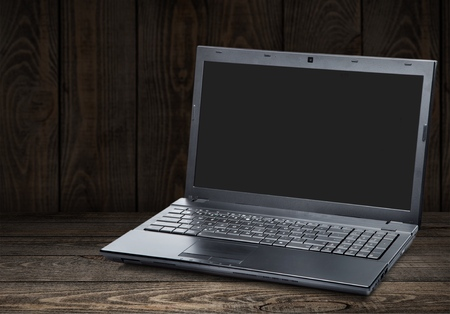 Open laptop on table