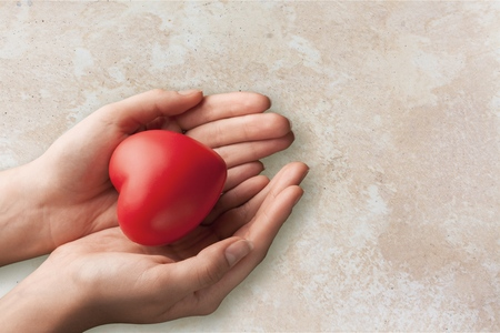 child hands holding red heart