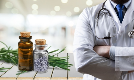 the scientist,doctor researching on  alternative herb medicine