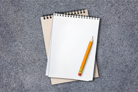 school notebook on a gray background Stock Photo