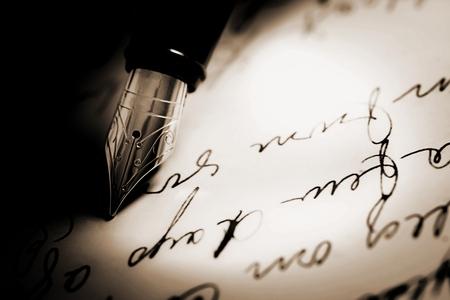 Fountain pen on  handwritten