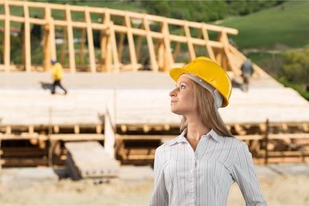 proud constructor in a helmet