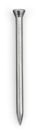 3D illustration of steel nail on white background