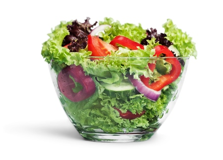Fresh vegetable salad isolated on white
