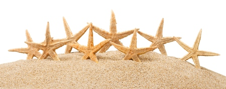 Starfishes with sand  isolated on a white background Stockfoto