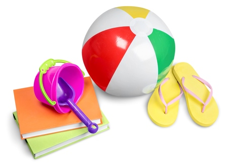 Flip-Flops, Towel, Beach Ball, Books and Diving Mask