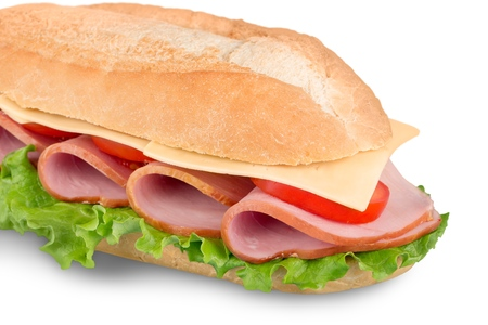 Sliced ham sandwich