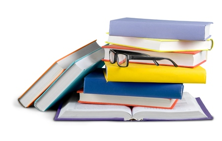 Stack of Books with Eyeglasses Stockfoto