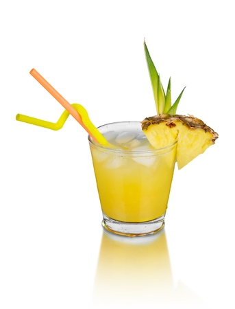 Cocktail drink juice pineapple cold drink glass isolated
