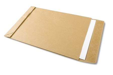 Brown Envelope with White Paper Banco de Imagens
