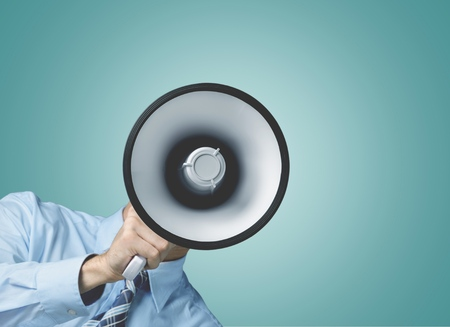 Megaphone using voice advertisement bullhorn public speaker talking men