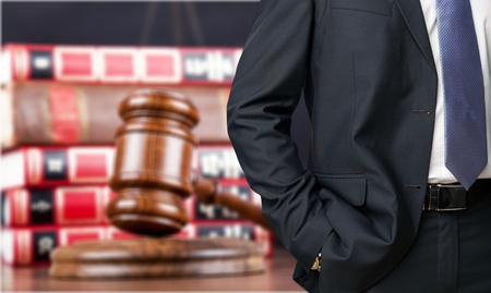 Close up lawyer with gavel judge