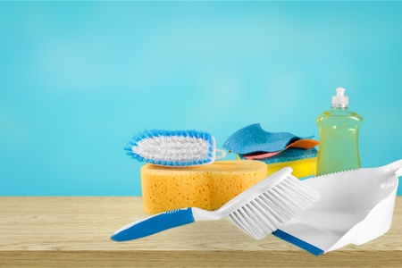 House Cleaning Equipment on desk Stockfoto