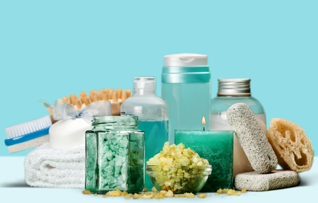 Spa set: Aromatherapy bottles with scrub Reklamní fotografie