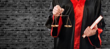 Judge on black background Stockfoto