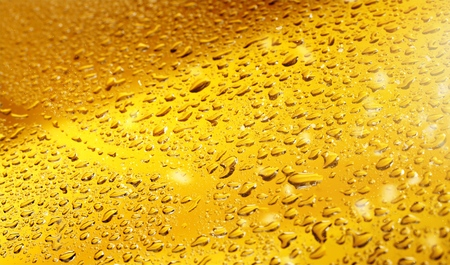 Close up shot of yellow beer bubbles on white background
