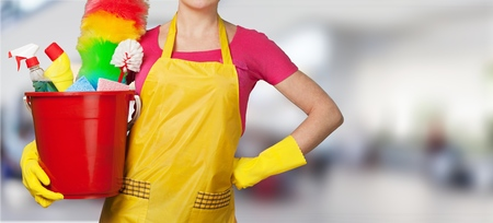 Woman in Apron with Rubber Gloves and Stock Photo
