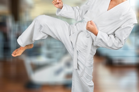 Karate master on fight training Stock Photo