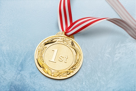 Gold, silver bronze medal Standard-Bild