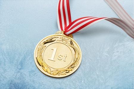 Gold, silver bronze medal Standard-Bild - 108365927