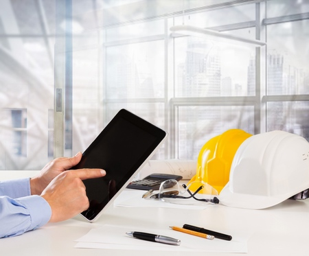 hand of architect working