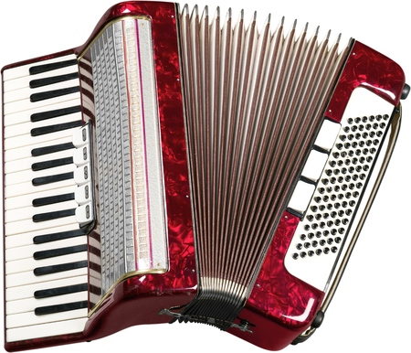 Single Accordion isolated on white background Archivio Fotografico