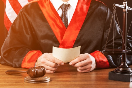 Close up of a lawyer with a judge gavel Stockfoto