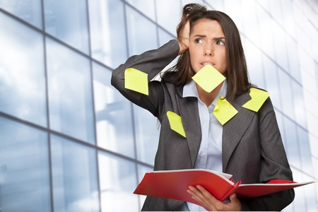Woman with Adhesive Notes