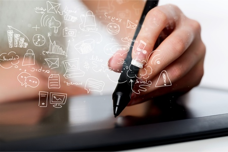 Young business woman using digital tablet Stock Photo