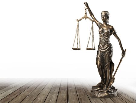 Justice Scales and books and wooden gavel Stockfoto