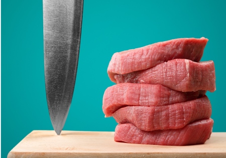 Filet mignon steaks and knife