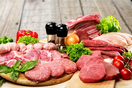 Fresh Raw Meat Background with vegetables 写真素材