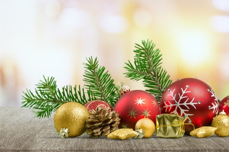 Closeup of red Christmas balls and fir Stock Photo
