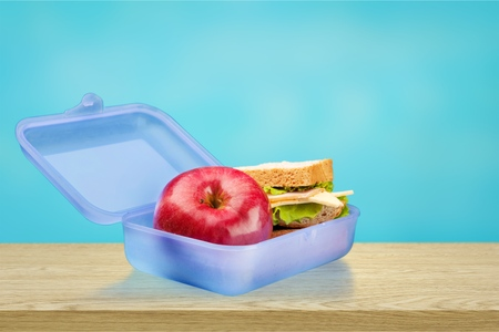 School Lunch Box filled with apple and sandwich