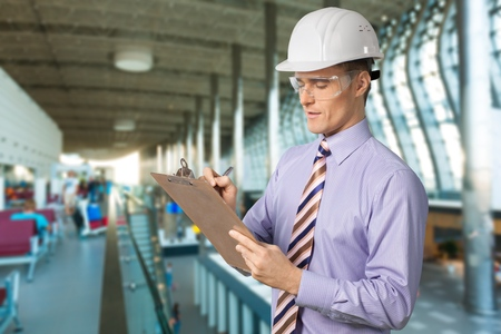 Construction Inspector Safety Glasses Stock Photo