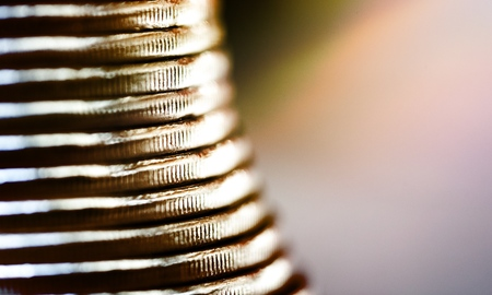 Stack of coins isolated on background