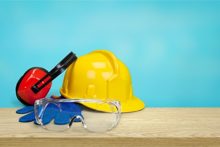 Safety equipment - hardhat, goggle, gloves and