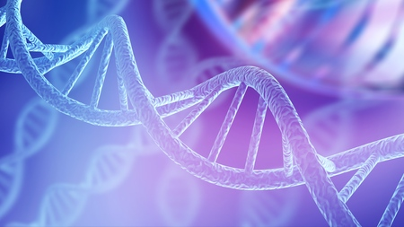 Blue DNA structure isolated background. 3D illustration Stock Photo