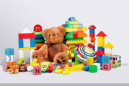 Toys collection isolated on background Stockfoto