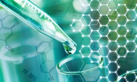 Tubo de ensayo de laboratorio de ciencia y pipeta con gota, equipo de laboratorio closeup