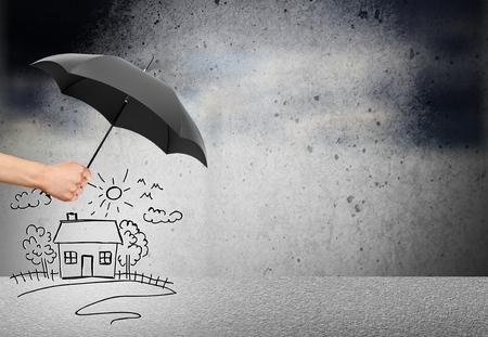 Levens- en familiale verzekering - veiligheidsconcept Stockfoto