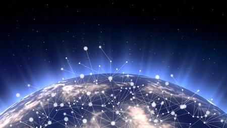 Red de telecomunicaciones asiática conectada a través de Asia, Japón, Corea, Hong Kong, concepto sobre internet y tecnología de comunicación global para finanzas, blockchain o IoT, elementos de Foto de archivo