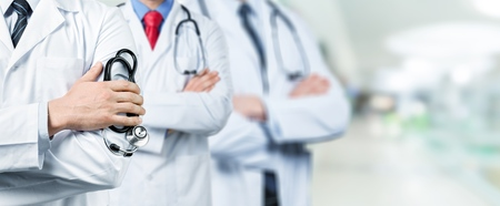 Medical doctors and surgeon professional team with clinic background for healthcare, nursing care teamwork, hospital ER surgical service and patient trust concept