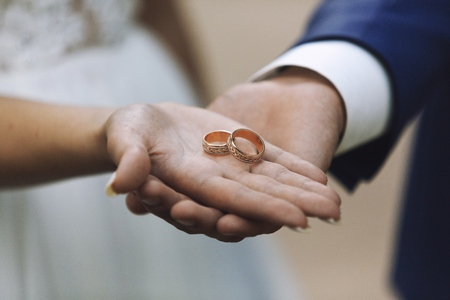 Giving of wedding ring Stock Photo