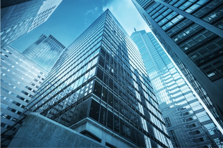 Modern office buildings in city Stock Photo
