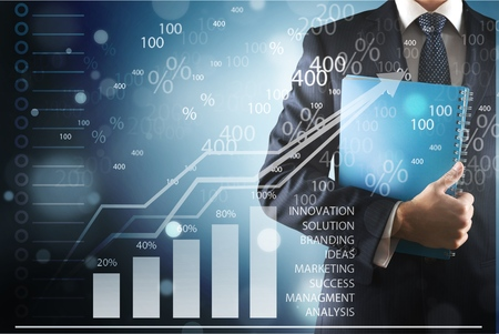 Businessman hand point graph growth Stok Fotoğraf